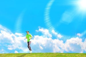 晴天で暑い中マラソンの練習